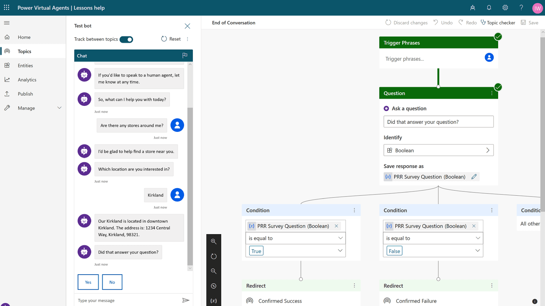 Power Virtual Agent Screenshot